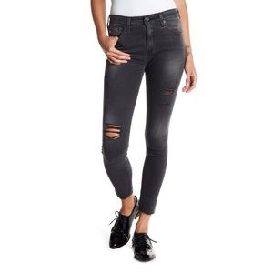 Rare! AG HighRise Farrah Skinny in Distressed Gray